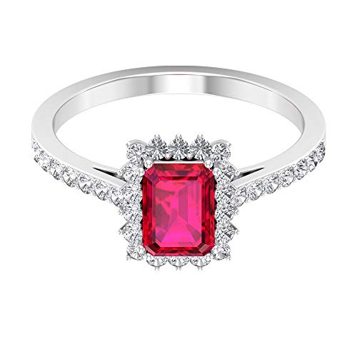 Rosec Jewels 18 quilates oro rosa round-brilliant-shape Octagone H-I Red Diamond Ruby