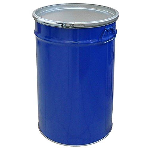 meier Stahlfass 60 Liter Hobbock Deckelfass | Zyklon Staubabsaugung Geeignet | Metall Blechfass Mülleimer Behälter Kübel mit 2 Seitlichen Fallgriffen | Stabil und gefüllt Stapelbar | Konisch