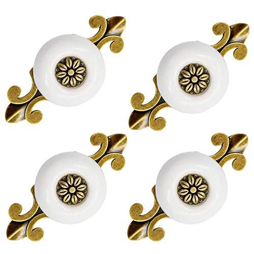 Tiradores Redondos de Muebles de Porcelana de Cerámica Manija de perilla Elegante de Aleación de Zinc Retro Pomos y Tiradores de los Cajones Hermosas para Muebles Cajones Armarios 4 piezas (Blanco)