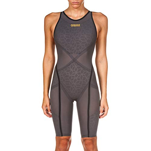 Arena Damen Powerskin Carbon Ultra Badeanzug offener Rücken, Damen, Badeanzug, Powerskin Carbon Ultra Swim Suit - Open Back, Dunkelgrau/Dunkelgrau/Gold, 28