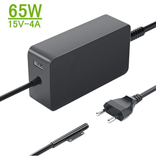 Cargador Surface Pro, 65W 15V 4A Surface Cargador para Surface Pro X/Pro 7/ Pro 6/ Pro 5/ Pro 4, Surface Laptop/Surface Book/Surface Go Modelo 1706 con Puerto del USB y Cable Extensión Alimentación