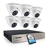 ZOSI 8 Channel Security System for Home, H.265  Digital Recorder with 2TB Hard Drive and 6 x 1080p Surveillance <span class='highlight'>CCTV</span> <span class='highlight'>Camera</span> <span class='highlight'>Outdoor</span> 80ft Night Vision Remote Access