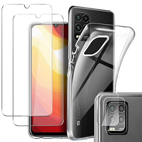 Pengkun 5 en 1 Funda para Xiaomi Mi 10 Lite 5G con 2 Cristal Templado 2 Cristal Templado para cámara Trasera Transparente Silicona TPU para Xiaomi Mi 10 Lite 5G