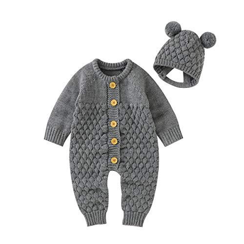 mimixiong Neugeborenes Baby Strampler Strickpullover Jumpsuit Mädchen Jungen Langarm Outfits mit Warmer Mütze (6-12 Monate, Grau)