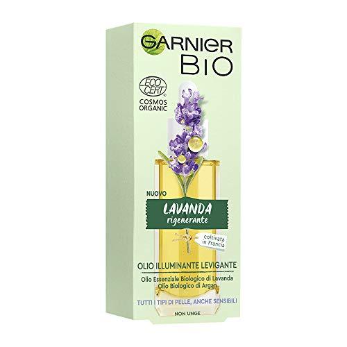 Garnier Bio Olio Viso Illuminante e Levigante alla Lavanda, Formula Arricchita con Olio di Argan Biologico e Vitamina e Antiossidante, 30 ml