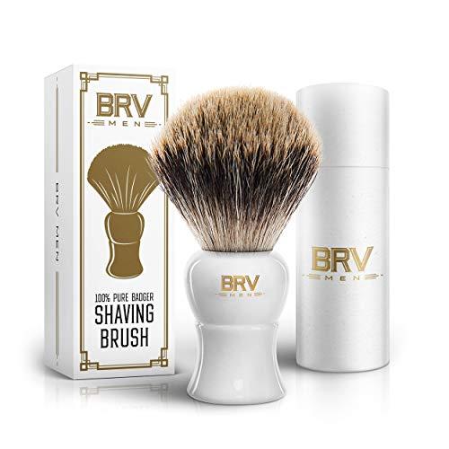 BRV MEN Shaving Brush - Pure Badger Hair - Badger Brush - Rich Lather - Shave Brush - Use with Double-Edge Safety, Straight Razor or Shaving Bowl - Genuine Badger Bristles - 19mm knots - White