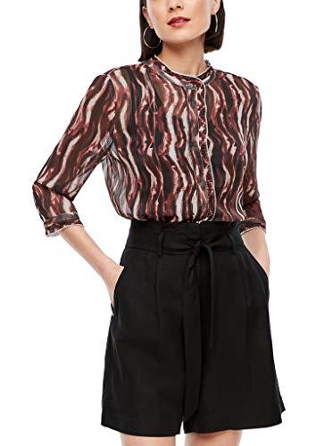 s.Oliver BLACK LABEL Damen Hochgeschlossene Bluse mit Muster batik stripes print 44