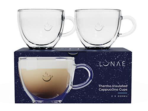 Lunae Verres Cappuccino, Tasse Double Paroi, 250 ml, Lot de 2
