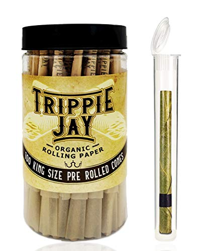 Trippie Jay 100 King Size Pre Rolled Cones | 100 Pack | 1 Tea Leaf Cone Packed in a Container | Includes Packing Sticks