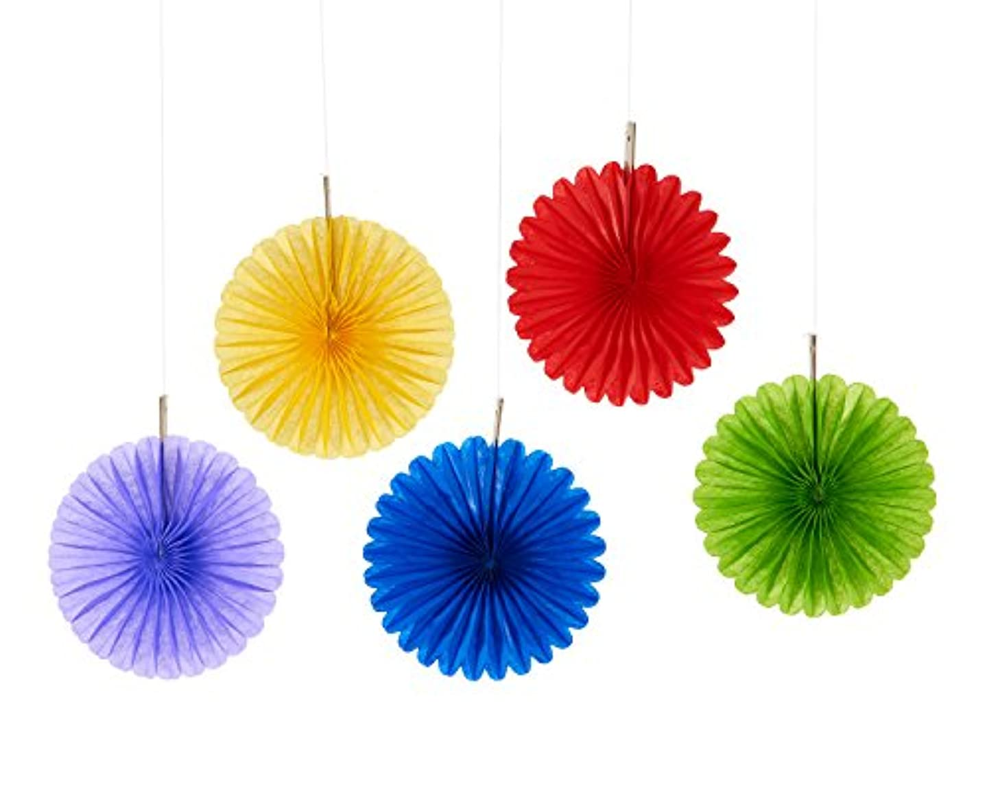 American Greetings Mini 5 Count Hanging Decoration Fans, Multicolor