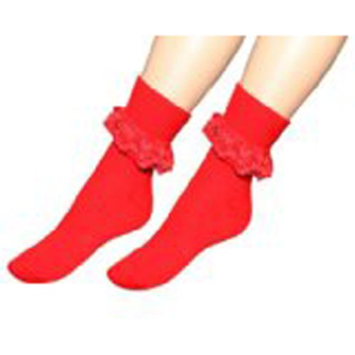 Damen-Socken mit Rüschen, knöchelhoch, in verschiedenen Farben, Rot, Schwarz, Neongrün, Pink (rot)