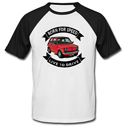 TEESANDENGINES Men's Polish Maluch Polish FIAT 126P RED Born for SPEE Black Short Sleeved T-Shirt Size XLarge