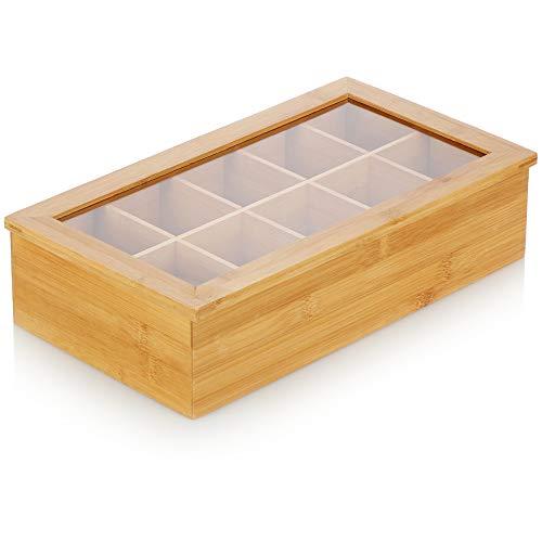 com-four® Premium Teebeutel Aufbewahrungsbox - Teebox aus Bambusholz mit 10 Fächern und Sichtfenster - Teekiste - Teeaufbewahrung - Teebeutelbox (01 Stück - 36x20x9cm Bambus)