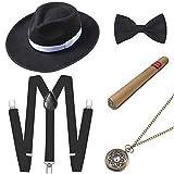 ArtiDeco 1920s Herren Accessoires Mafia Gatsby Kostüm Set inklusive Panama Gangster Hut Verstellbar...