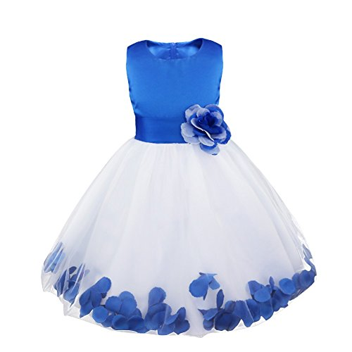 IEFIEL Vestido Flores de Fiesta Boda para Niña Vestido Blanco de Bautizo Vestido Elegante de Dama de Honor Vestido Princesa de Gasa para Ceremonia Cumpleaños Top Azul 10 años