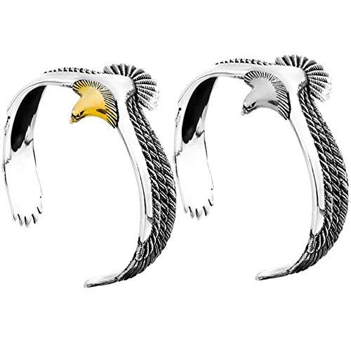 2 Piezas De Brazalete De águila, Brazalete De Brazalete De Punk Rock Vintage De Moda, Brazalete De Brazalete De águila Ajustable, Brazalete De Extremo Abierto Para Hombres Y Mujeres