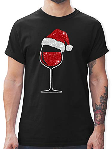 Weihnachten & Silvester - Weinglas mit Weihnachtsmütze - XL - Schwarz - l190_Shirt_Herren - L190 - Tshirt Herren und Männer T-Shirts