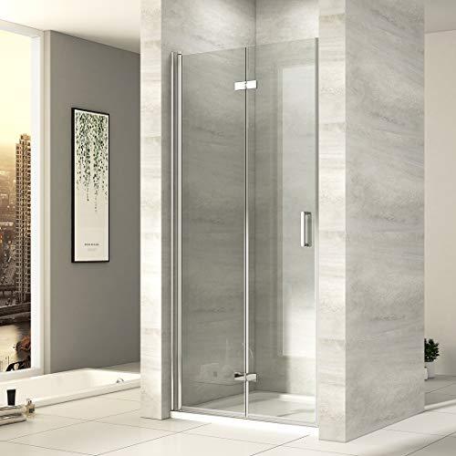 EMKE Duschtür 75cm Nischentür Duschabtrennung 6mm ESG klares Sicherheitsglas Rahmenlos Falttür dusche Duschwand Duschkabine mit Beidseitiger NANO Beschichtung Höhe: 195cm