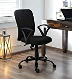 FURNICOM CHAIRS™ Office/Study/revolving Computer Chair for Home Work Executive mid Back Base Metal Powder Coated seat Height Adjustable & Comfortable armrest (Standard, Black Chairs)