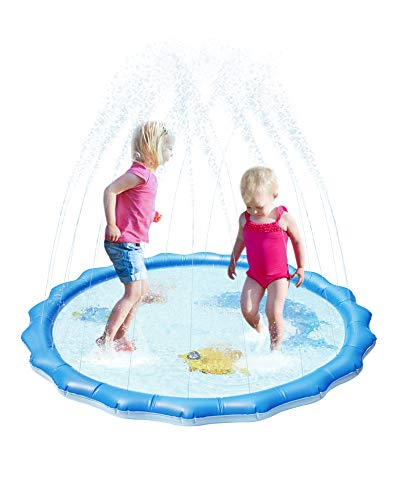 "Gladle Splash Pad Inflatable Sprinkler 60"", Water Toys for Learning, Outdoor Backyard Blow Up Summer Splash Play Mat Pool for Kids, Babies, Toddlers Boys and Girls"