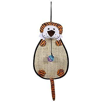Tapis griffoir en Forme de l'animal de griffer Suspendus Tapis de Jeu de Jeu Relaxant avec Ball Jouet pour Chat Chaton(Tigre)