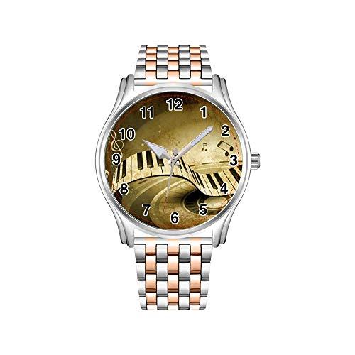 Reloj de hombre de acero inoxidable, color oro rosa, reloj de hombre vintage pavo real