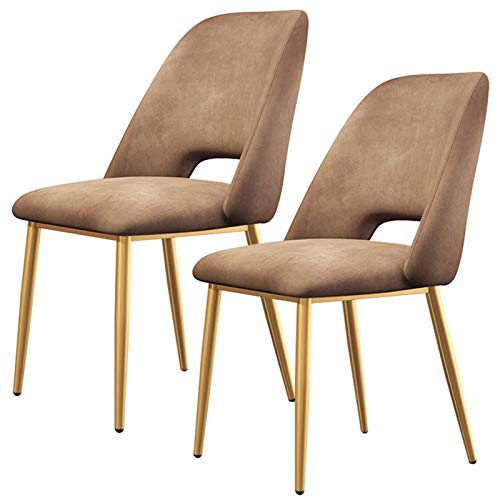 ZYXF Set Of 2 Dining Chairs Modern Gold Metal Legs Tulip Chairs Ergonomic Office Chair Cushioned Soft Seat Living Room Bedroom Kitchen (Color : Brown)
