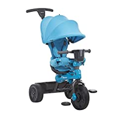 4-stage trike adjusts as child grows, for babies from 10 months and up to 44 pounds Front wheel pedal locking system, fold down footrest and removable baby surround arms assist a younger child Parent push handle is removable and height adjustable fro...