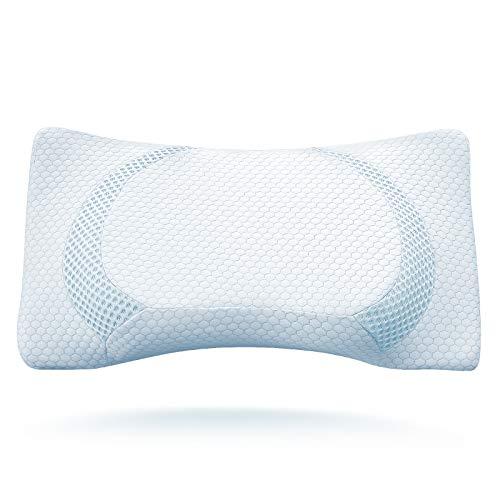 BESFAN Foam Kissen,Memory Foam Kopfkissen, Orthopädisches Kissen Nackenstützkissen für Rückenschläfer Seitenschläfer und Bauchschläfer mit RoHS Zertifizierung, 2 Höhen, 2pcs Kissenbezüge