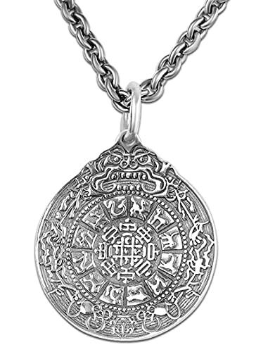 CHXISHOP Collar de plata S925, personalizado de los hombres nueve palacios y colgantes de chismes, accesorios de moda unisex, colgantes de la joyería de 18 pulgadas