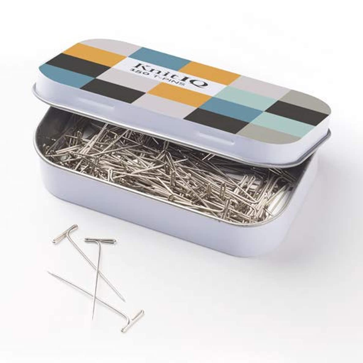 KnitIQ Strong Stainless Steel T-Pins for Blocking, Knitting & Sewing | 150 Units, 1.5 Inch -Pin Needles | Comes with Hinged Reusable Tin (Checkered Design) amxt1382890979