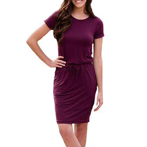 Damen Sommerkleid Rundhals schnürtasche Kleid einfarbig Casual Kurzarm minikleid Mode knielanges Kleid Abendkleid Sonojie