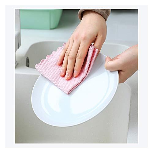 Toallitas multiusos 5 unids / lote tela de microfibra sin trazar vidrio de limpieza de toalla de plato absorbente para la tela de la mesa de la cocina de la cocina Herramientas de limpieza del hogar L