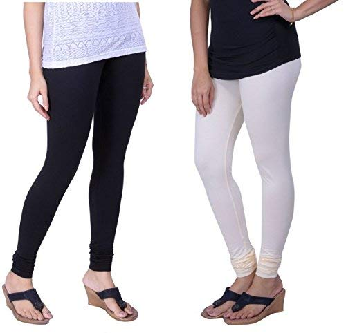 Lux Lyra Women's Pack Of 2 Churidar Leggings-Black & White