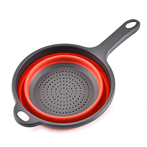 Ganquer Colador Plegable de Silicona con asa Filtro de Drenaje Cesta de Lavado Plegable(Rojo)