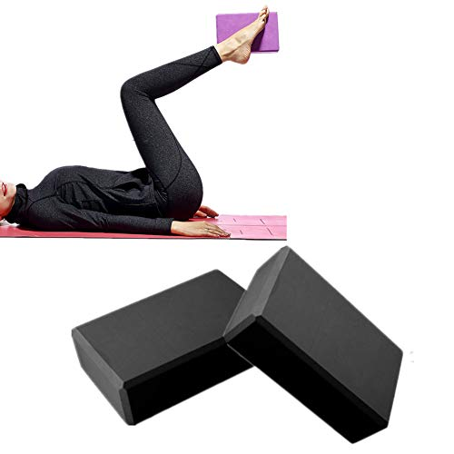 zhppac Ladrillo De Yoga Bloque Yoga Pilates Bloques Yoga Bloques de Soporte Yoga Kit de iniciación Soporte para Yoga Yoga Conjunto Bloques de Yoga Black,2pcs
