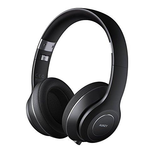 AUKEY Bluetooth Headset, Faltbare Over Ear kabellose Kopfhörer mit 18 Stunden Spielzeit und Eingebautem Mikrofon für iPhone, Samsung, Android Phones, Tablet, PC und vieles Mehr