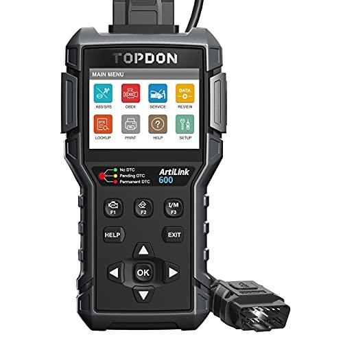TOPDON AL600 Lettore di Codice OBD2 Scanner Test Attivo Diagnostica Auto ABS SRS Servizio di Ripristino Olio BMS SAS Funzioni OBDII Complete Aggiornamento Gratuito