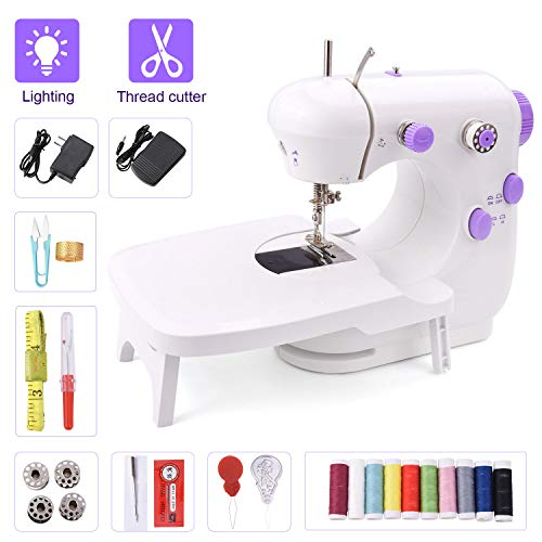 Suteck Mini Sewing Machine for Beginners Portable Electric Sewing Machines with Extension Table