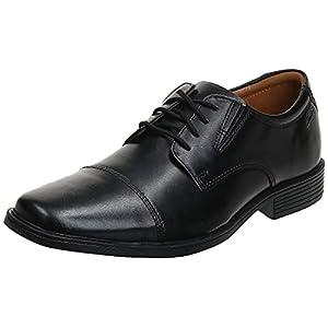 Clarks Men's Tilden Cap Oxford Shoe,Black Leather,10.5 M US