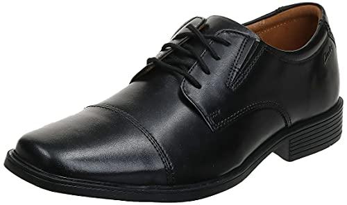 Clarks Men's Tilden Cap Oxford, Black Leather, 10