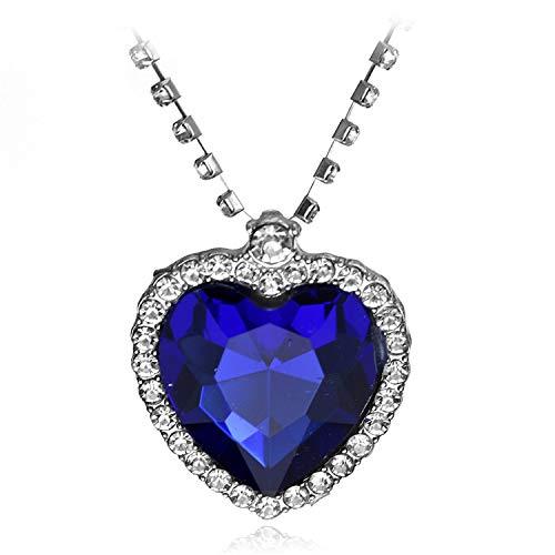 daidai Titanic Ocean Heart - Collar con Colgante de corazón Azul y Bolsa de Terciopelo
