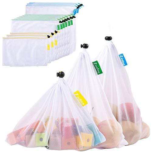 Zindoo Gemüsebeutel Obstbeutel Umweltfreundliche Einkaufstaschen Wiederverwendbare Spart Plastiktüten, Langlebig Robust Doppelt Genähte Gemüsenetz mit Farbetikett 12PCS(3S*6M*3L)