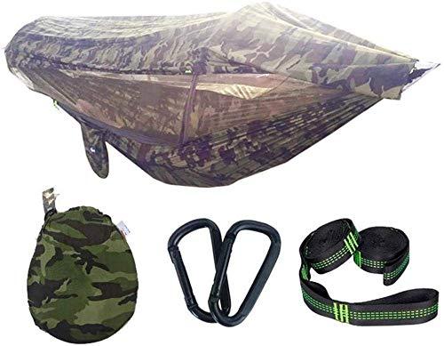 XHLLX Hamaca de camping doble plegable con luz de mosquitos, doble paracaídas portátil, 300 kg, capacidad de carga 290 x 145 cm