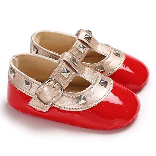 Tuzi Qiuge Schuh Herbst Baby weichbesohlte PU Schuhe Säugling gehendes Kleid Cradle Walking Schuh, Größe: 12cm (Schwarz) (Color : Red)