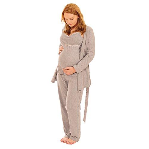 Pink Pixie, pigiama per maternità e allattamento, set di 3pezzi, con vestaglia, per un facile allattamento Grey 10 12