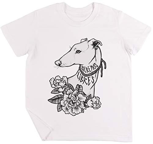 Vendax Seremos Libres - Greyhound Bambini Ragazzi Ragazze Unisex Maglietta Bianca