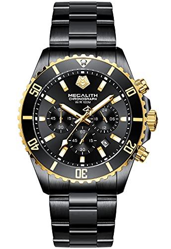 MEGALITH Reloj de hombre militar negro resistente al agua 10 ATM reloj de hombre de acero inoxidable cronógrafo grande reloj de pulsera analógico luminoso calendario regalo para hombres – negro oro