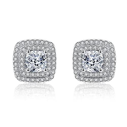 Pendientes de botón de boda de lujo cuadrados clásicos pendientes de CZ transparente de plata de ley 925 para mujer joyería fina de compromiso de 1 CM