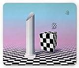 Gaming Mauspad Themenorientierte Zeitgenössische Surreale Kunstillustration Eines Griechischen Säulen- Und Würfeldrucks Rutschfestem Gummiunterseite Mousepad Anti-Ausfransen Gaming Mausmatte 25X30Cm